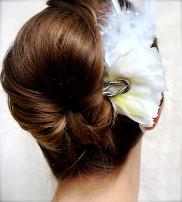 pale ivory flower hair clip with feathers and pearls and silver vintage accent