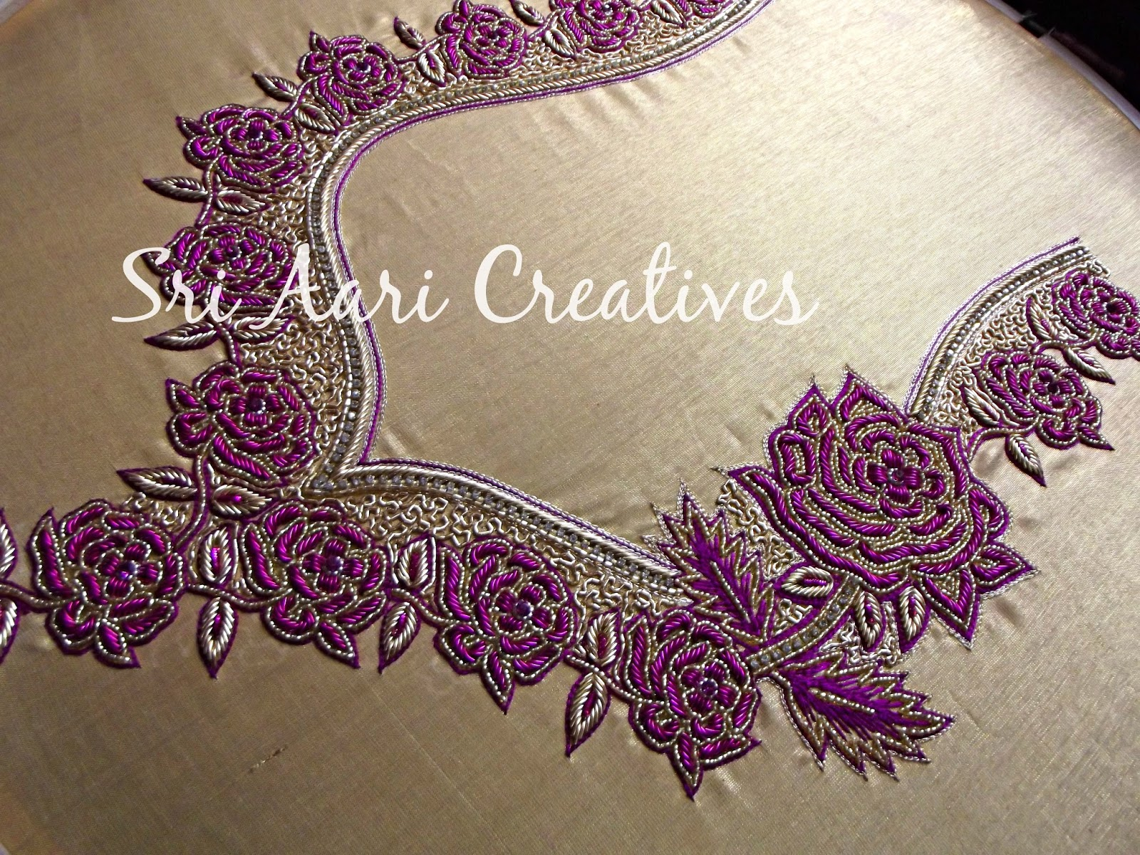 Sri aari creatives latest embroidery designer blouses