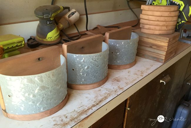making planters out of light fixture glass and deck wood