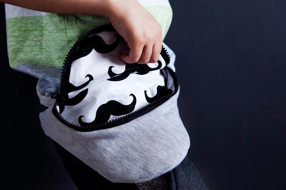 Kids kidney belt with cool mustache lining by Kujukuju