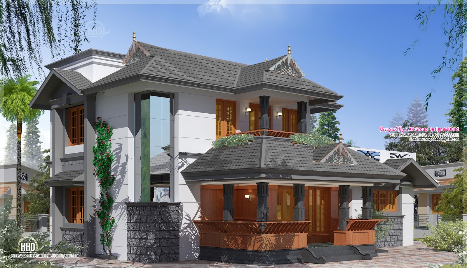 Tradition mix kerala villa in 1950 kerala home for Kerala traditional home plans