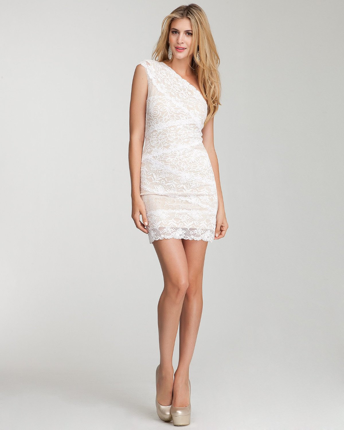 white short lace dress