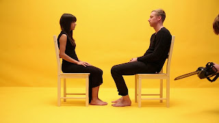 jessica walsh, timothy goodman, forty days of dating, chainsaw, chairs, yellow