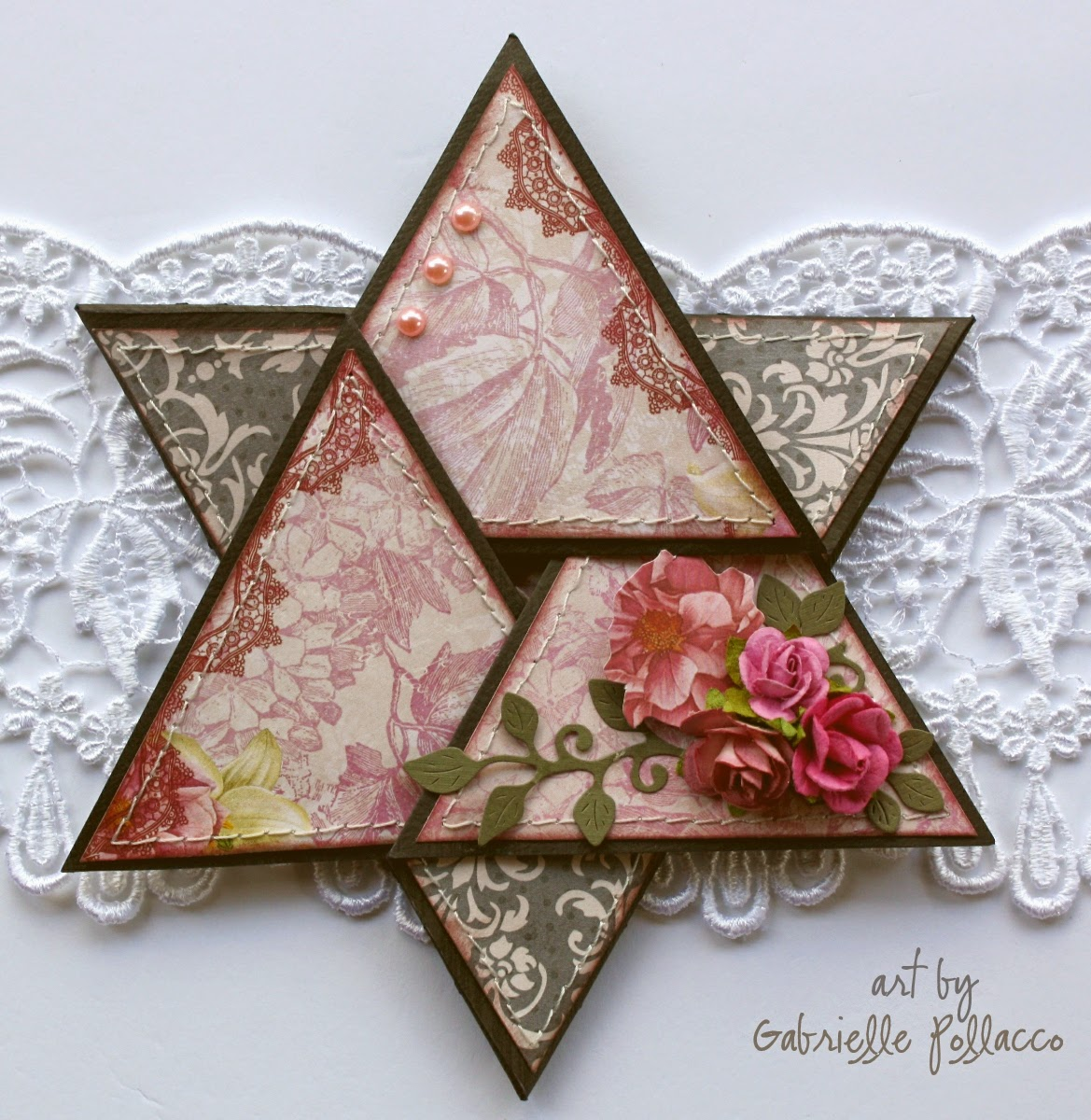 Star Fold card by Gabrielle Pollacco using Bo Bunny Madeleine paper collection.