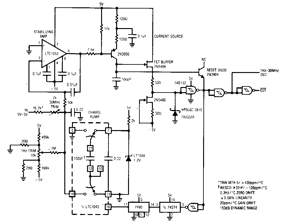 super circuit diagram  voltage to frequency converter