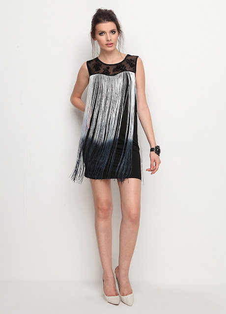 saçaklı siyak kısa elbise