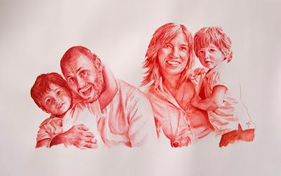 retrato en acuarela en gama de rojos de una familia
