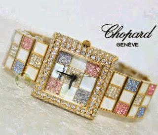 Jam Tangan Chopard Catur Segi Gold