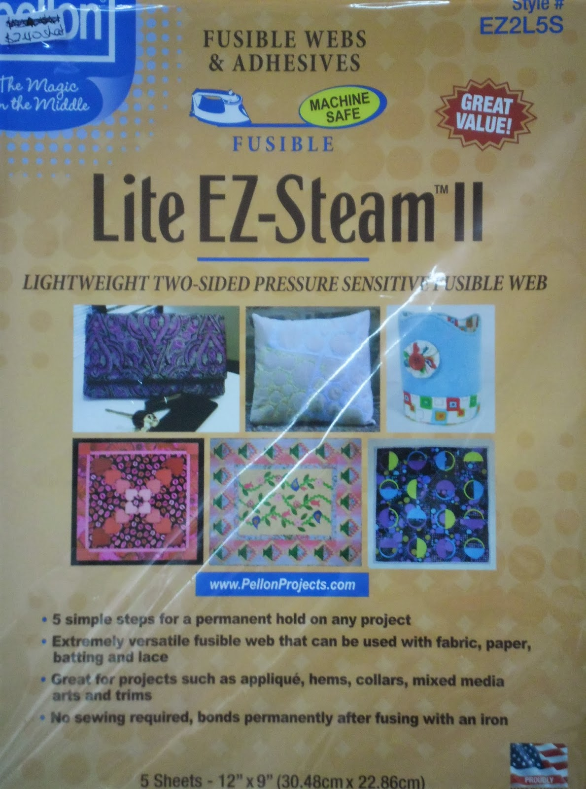 "Pellon Ez-steam Ii Lite-12/""x9/"" 5//pkg"