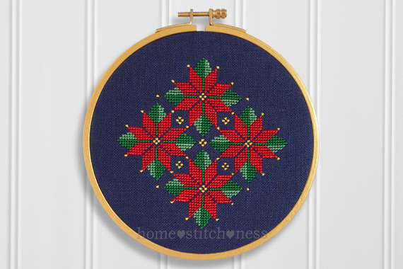 Floral Christmas Ornament Hoop Art Cross Stitch Design by homestitchness
