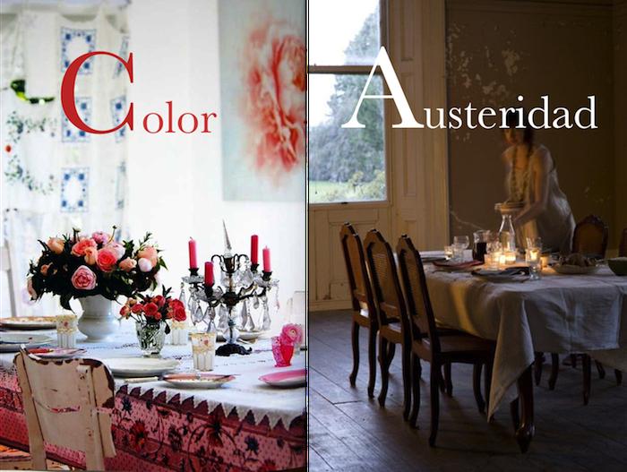 color y austeridad en la mesa