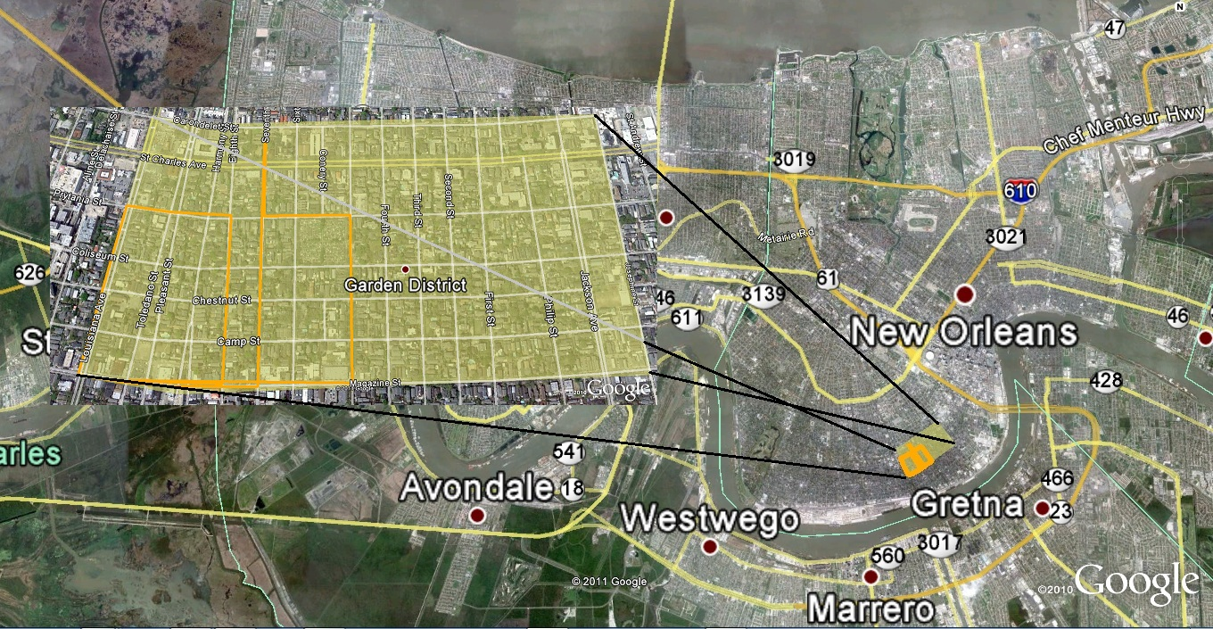 Route Of Garden District Stroll And Katrina Inundation Map.