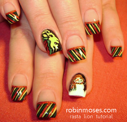 nail art, christmas nail art, christmas party nail art, filigree nail art,  purple and gold nails, red and black nails, glitter nails, rasta nails, ... - Robin Moses Nail Art: Nail Art, Christmas Nail Art, Christmas