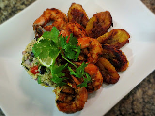 Mexican Quinoa Salad and Grilled Shrimp