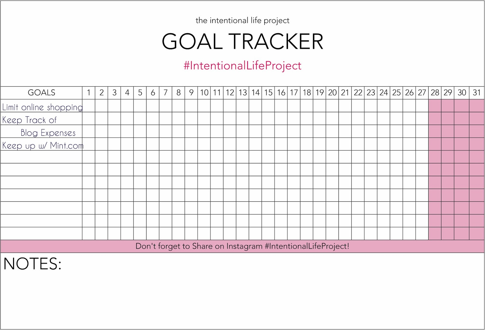 Monthly Goal Tracker Printable Search Results Calendar 2015