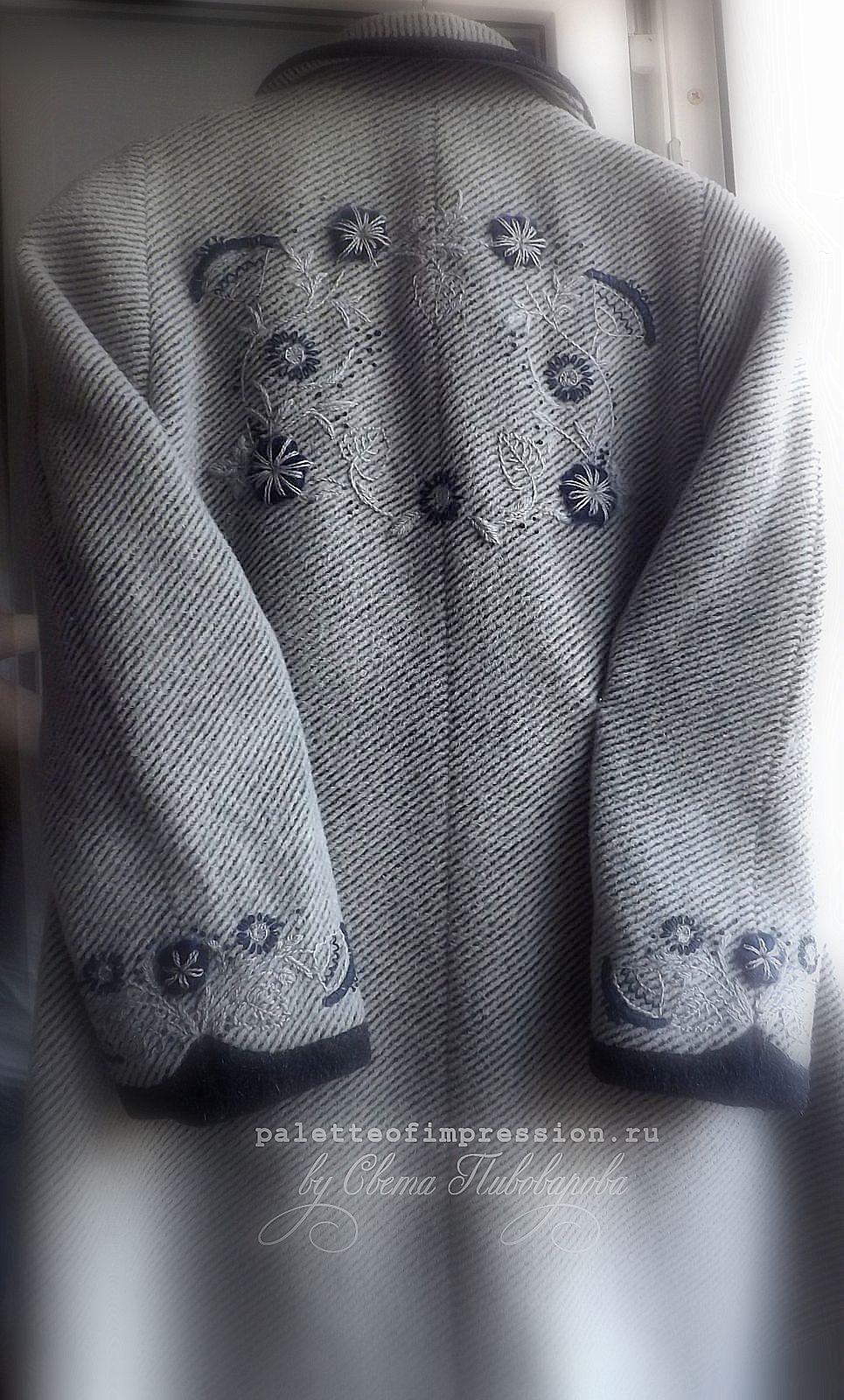 Весенняя вышивка на пальто. Различные швы. Шовчики.