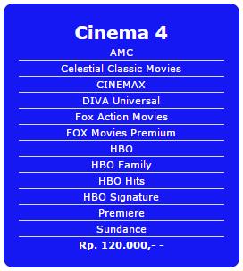Paket tambahan Indovision terbaru Cinema 1 Rp 60.000/bln