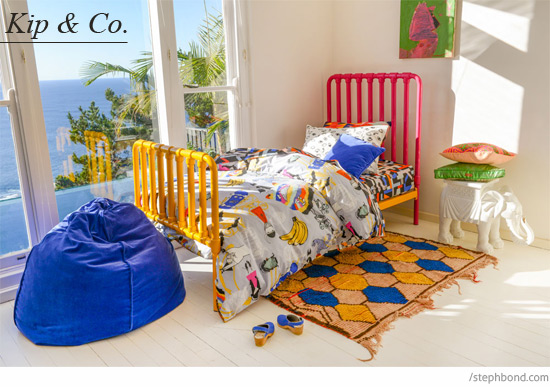 Cool I uve loving watching Bramwell Designs as it quickly grows in popularity Look for pops of fun brights on white And I um all about that reversible doona with