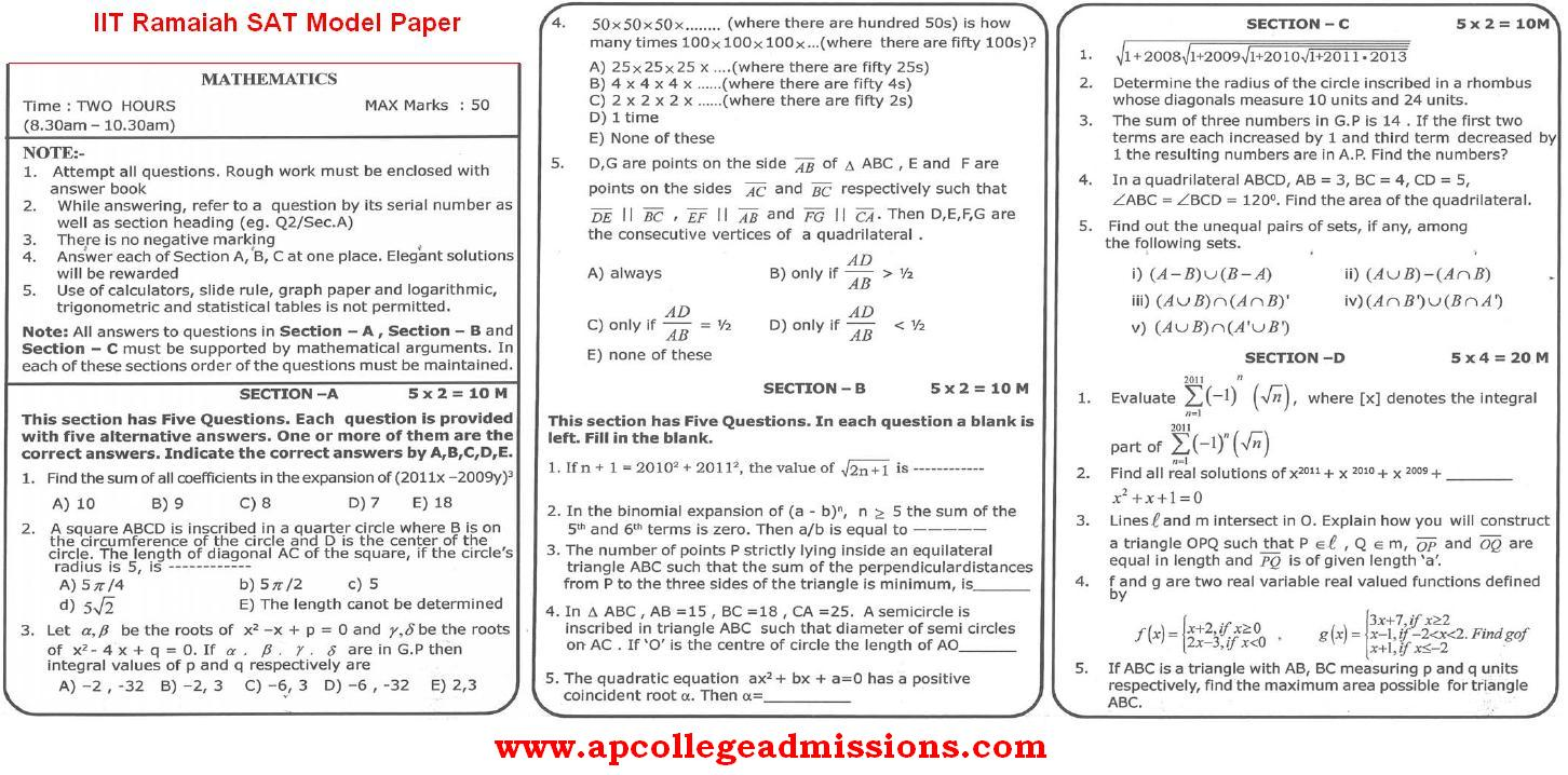 iit ramaiah sat model papers exam on 29th april 2012