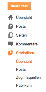 Screenshot des Blogger Menüs