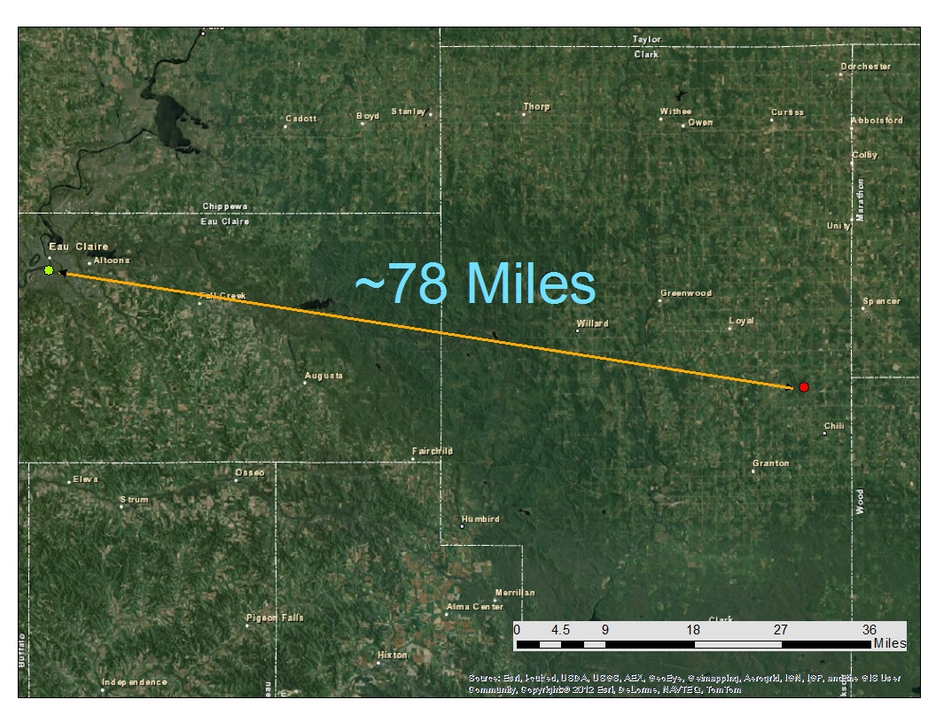 as seen in the map above the balloon took a ese east southeast path from eau claire the balloon eventually travelled nearly 80 miles