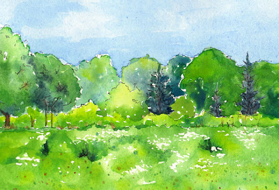 watercolor painting of woodland bike trail