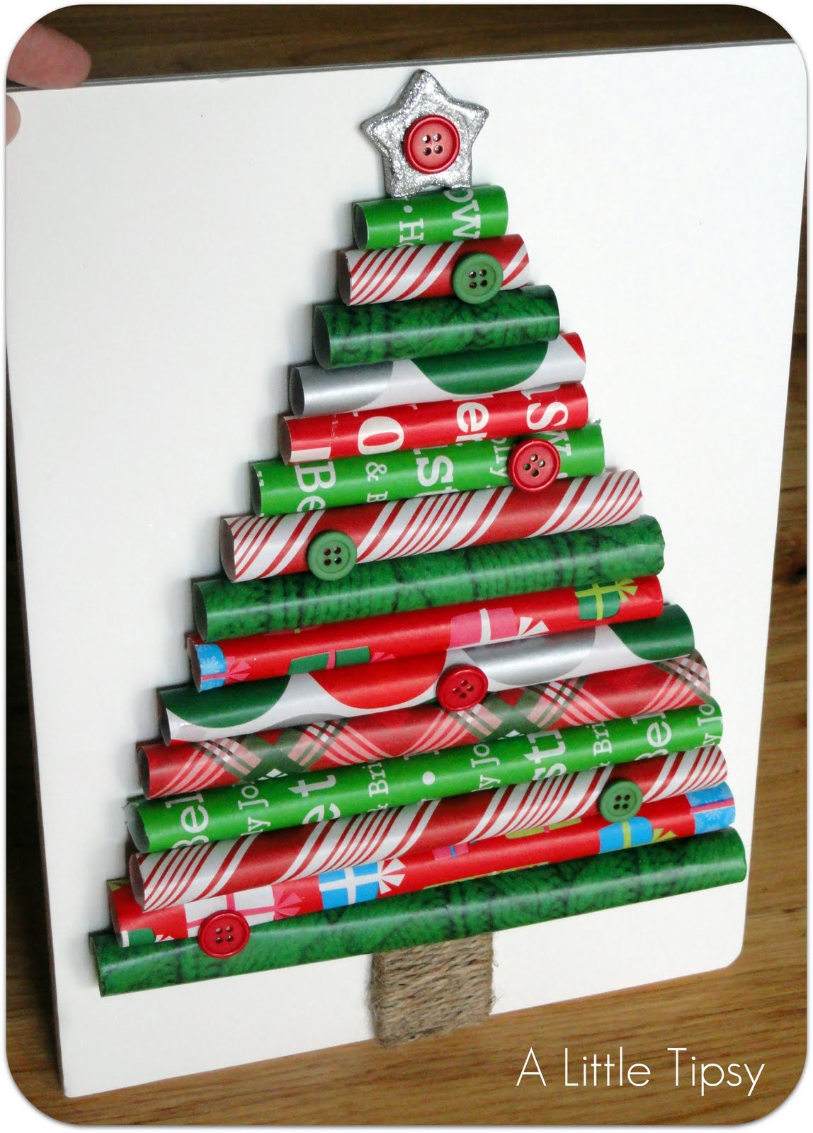 wrapping paper christmas tree craft - How To Make A Christmas