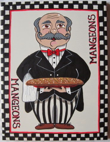 French Bread Waiter Hand Painted Trivet via Kudos Kitchen by Renee