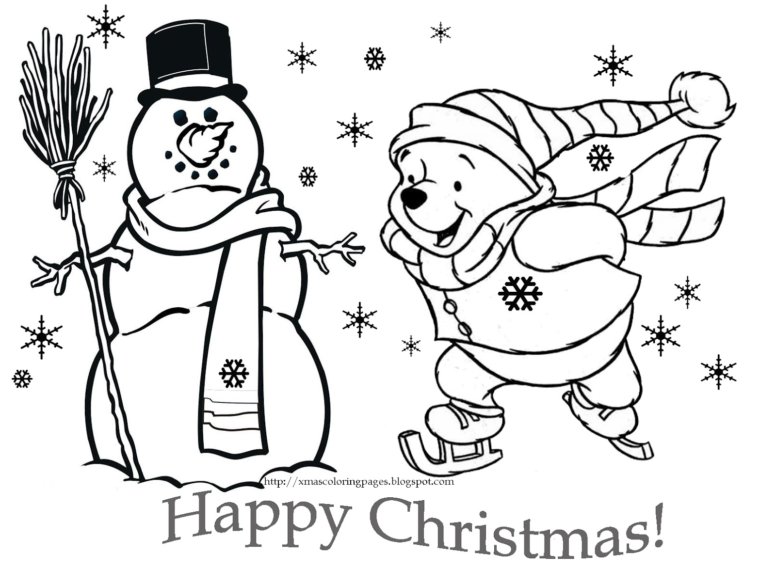 Coloring disney christmas - Coloring Pictures Christmas Free Coloring Pages Winnie The Pooh Christmas 1024x768 Winnie