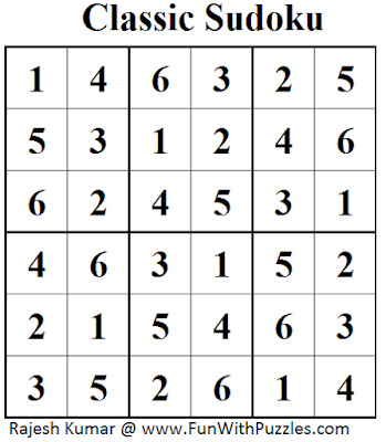 Classic Sudoku (Mini Sudoku Series #47) Solution
