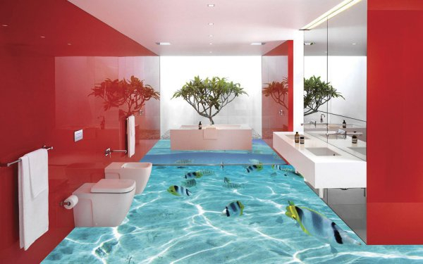 3d flooring ideas and 3d bathroom floor murals designs for Bathroom 3d floor designs