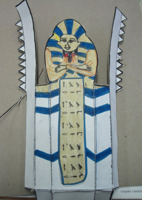 Students Color Mummies for History Class