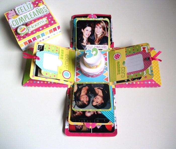 Raquel entre papel tutorial caja explosiva colaboracion - Caja decorada con fotos ...