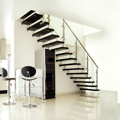 Black modern interior design staircase for Interior staircase designs