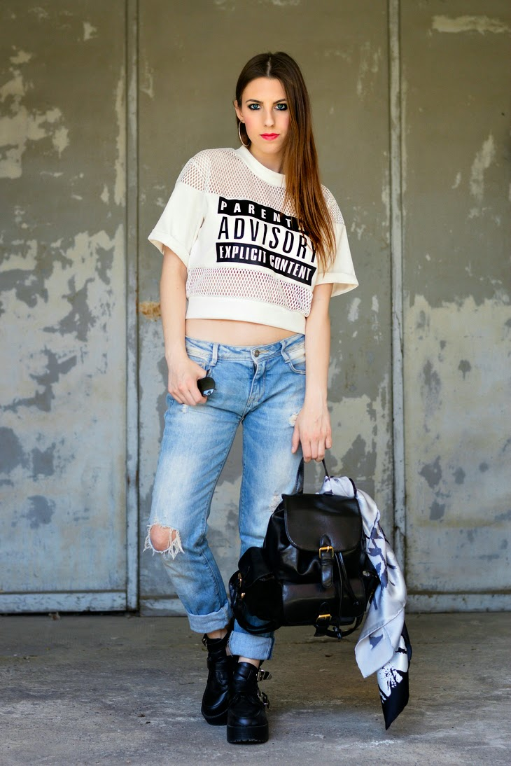 Alexander Wang Parental Advisory Explicit Content Mesh Shirt Top Boyfriend Jeans How to wear boyfriend Jeans Balenciaga Cut Out Boots How to wear cut out boots How to wear hoop earrings Rayban Aviator Sunglasses how to style backpack rucksack Avon Color Trend Lipstick Passion thesparklingcinnamon