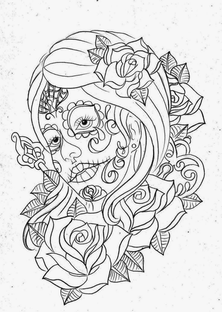 Girl face day of the dead with roses tattoo stencil