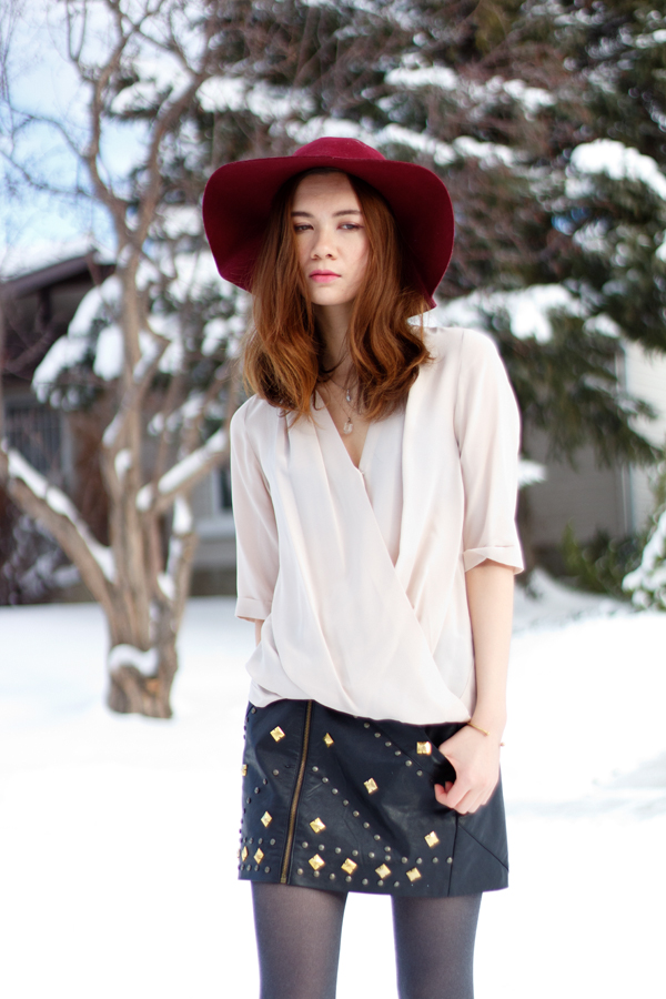 layered necklace, quartz pendant, studded, leather skirt, draped blouse, felt hat, marsala, oxblood, winter style, calgary fashion, amanda uprichard, ladakh x revolve