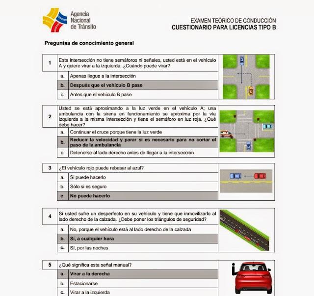 nuevo banco de preguntas licencias 2015