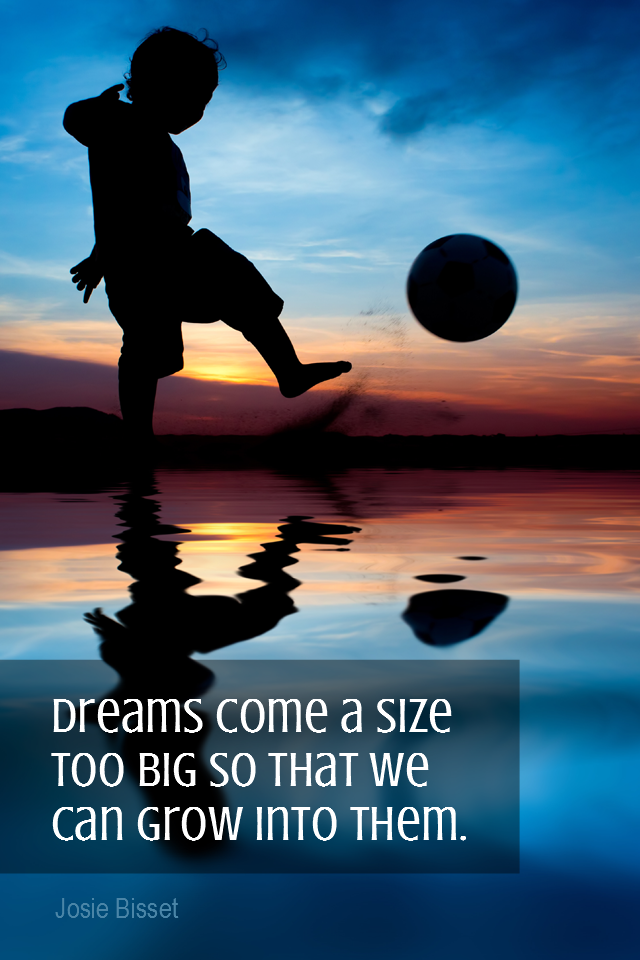 visual quote - image quotation for GOALS - Dreams come a size too big so that we can grow into them. - Josie Bisset