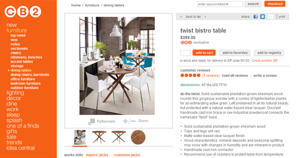 CB2 Website. Roomations  Best Websites for Buying Furniture Online
