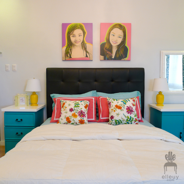 teal bedroom, turquoise bedroom, teen bedroom, girls bedroom, teal table, pattern curtains, gallery walls, frame gallery