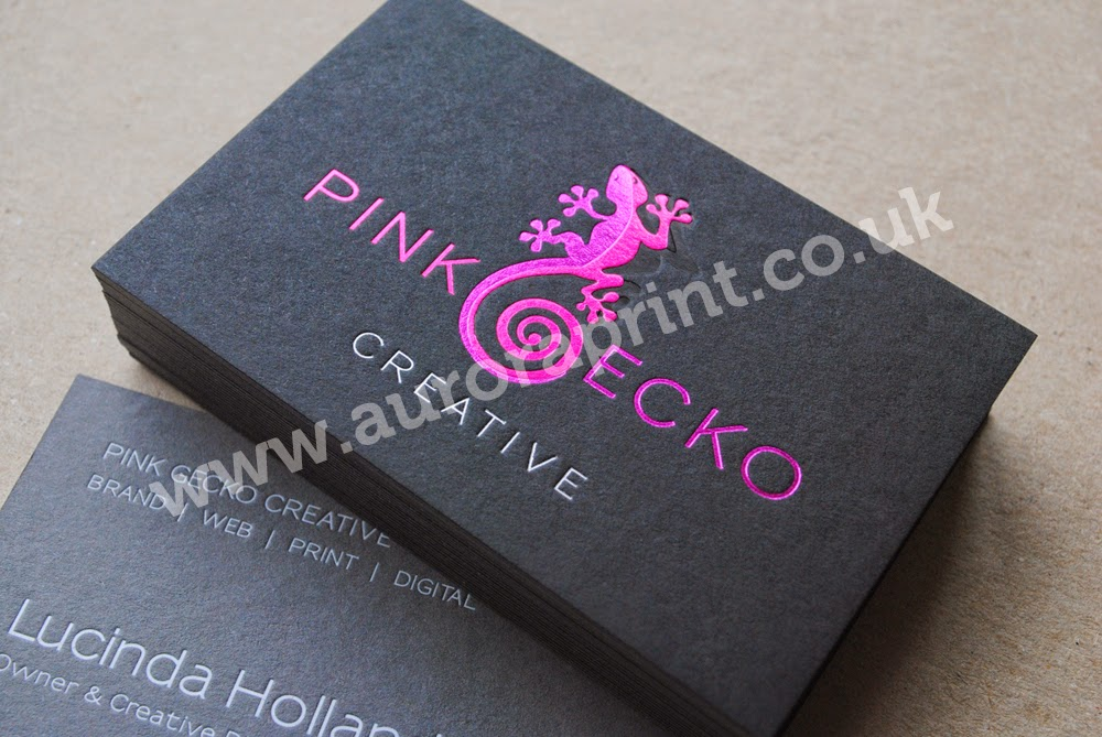Pink gecko business cards hot foil business cards by auroraprint pink gecko business cards reheart Images