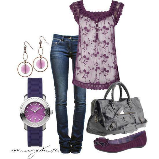Purple and white blouse, jeans, grey leather and sandals for ladies