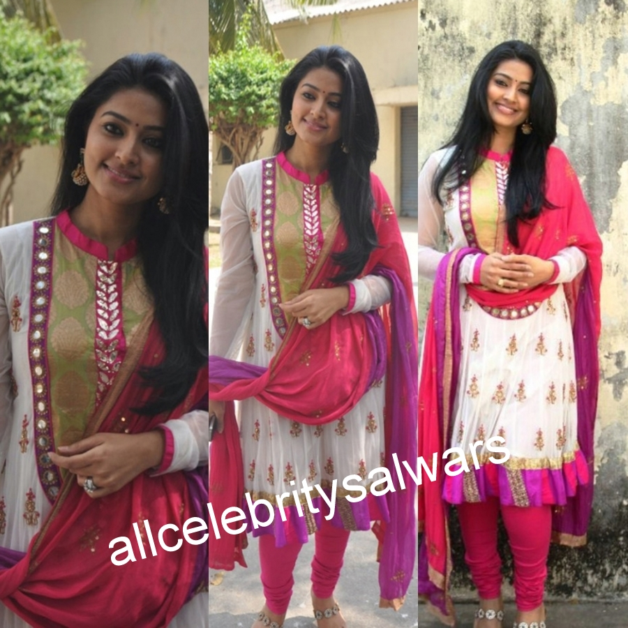 images of All Celebrity Salwars Tollywood Sneha White Pink And