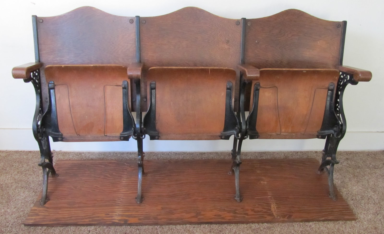 3 tandem antique theater seats dimensions long x tall x deep for sale at vdc 200