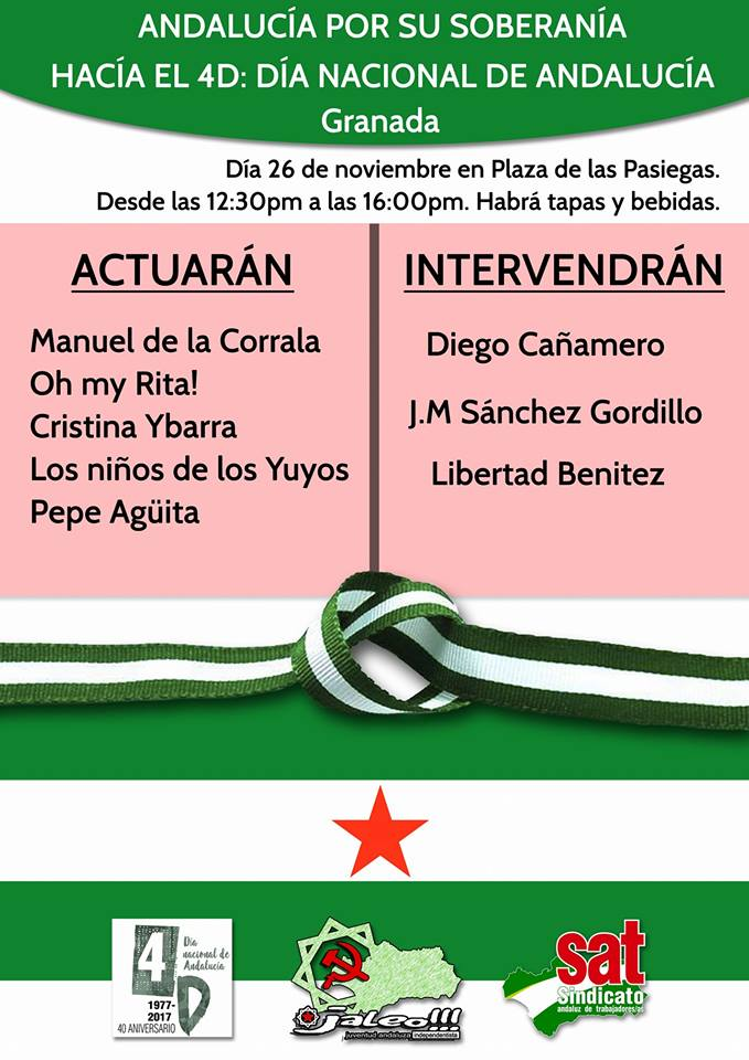 Granada: Domingo 26N Plaza de las Pasiegas, de 12:30 a 16:00 horas.