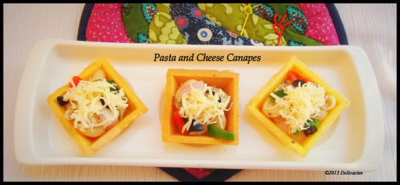 Pasta and cheese canapes kitchen delicacies for Canape kitchen