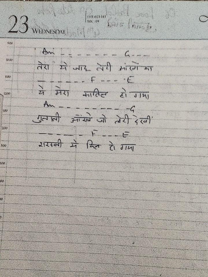 My Guitar Notes: Gulabi Aakhen- Guitar Chords- Hindi Song