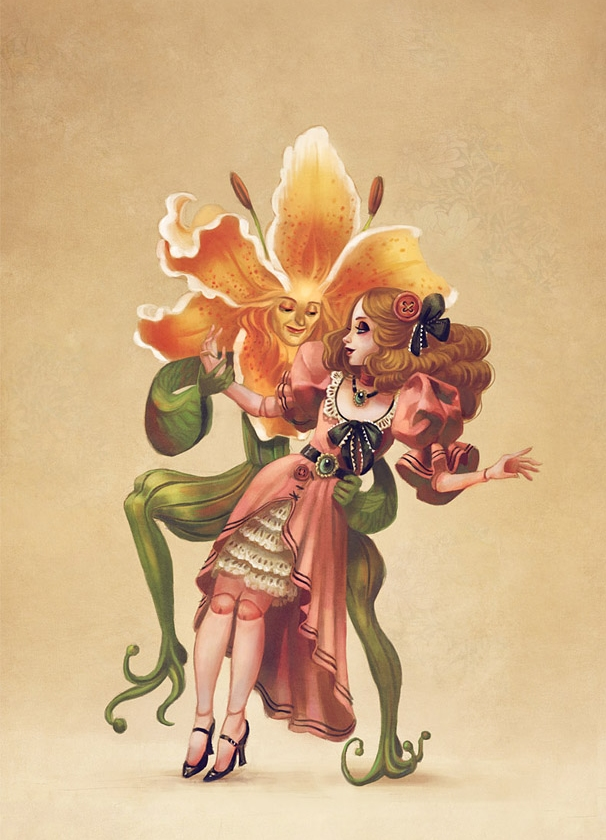 Human-like Flower Dances With Female Doll In Dress