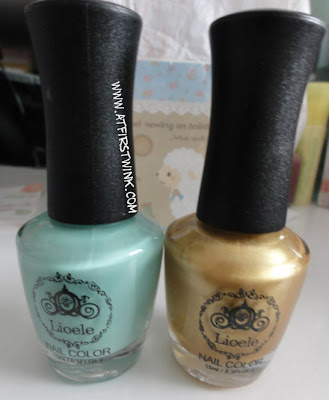 Lioele nail polish no. 38 and 13, gold and mint green